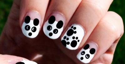 decoración de uñas fáciles oso panda