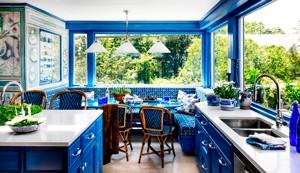 decoracion de cocinas azul amarillo, fotos de cocinas