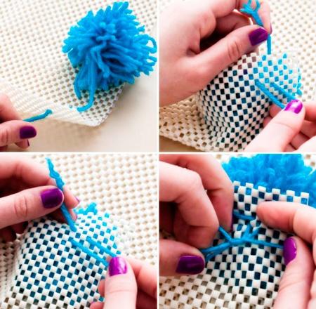 alfombra de lana azul