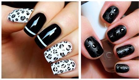 diseños de uñas acrílicas en color negro