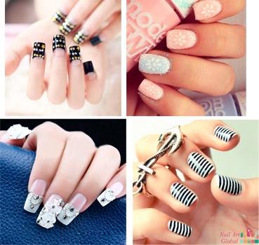diferentes estilos de uñas acrílicas
