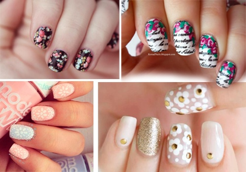 decoración de uñas acrílicas con fores