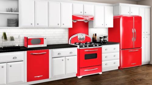 electrodomesticos de cocina estilo retro color rojo