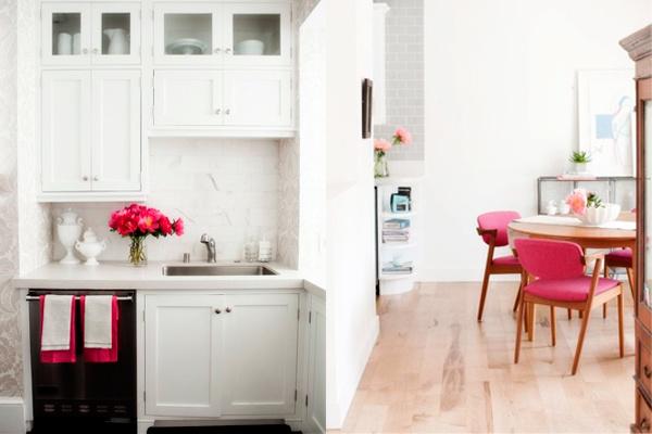 diseños de cocinas, decoración de cocinas, cocinas color rosa