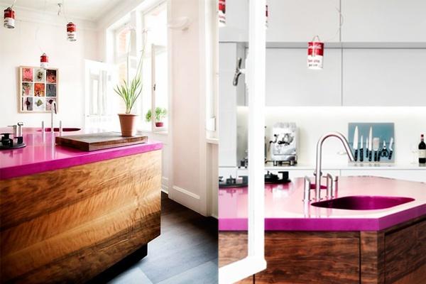 encimeras de cocina silestone rosa, encimeras de granito silestone