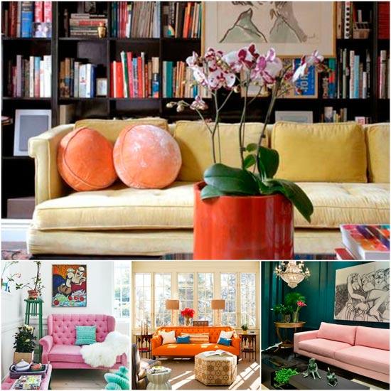 como combinar los sofas de colores