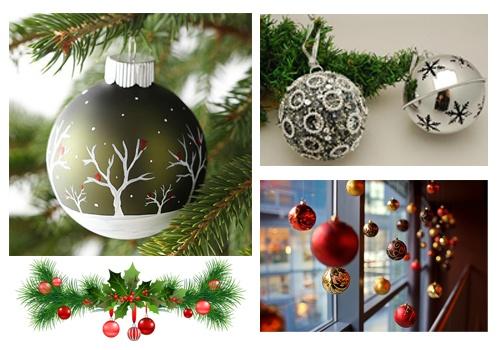 Bolas en la decoración de navidad