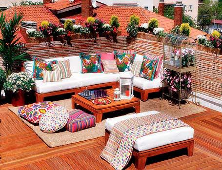 decoracin de terrazas con textiles de colores - Decoracion De Terrazas Exteriores