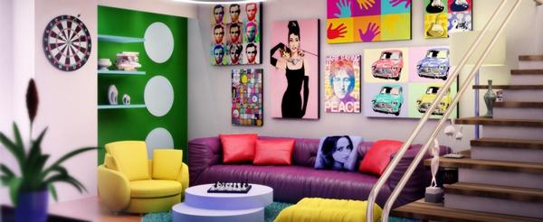 Salón decorado con estilo pop art