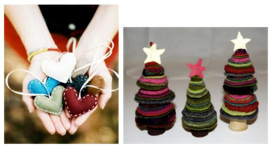 adornos de navidad hechos con fieltro