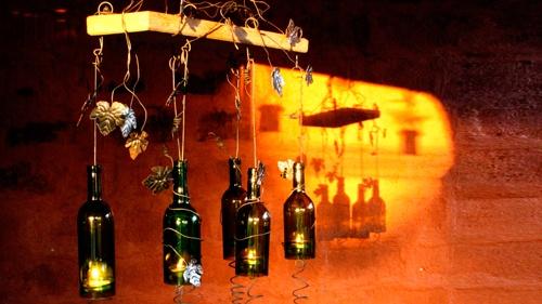 adornos iluminación de navidad hechas con botellas