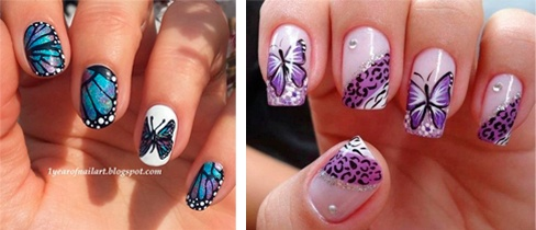 decoración de uñas con mariposas